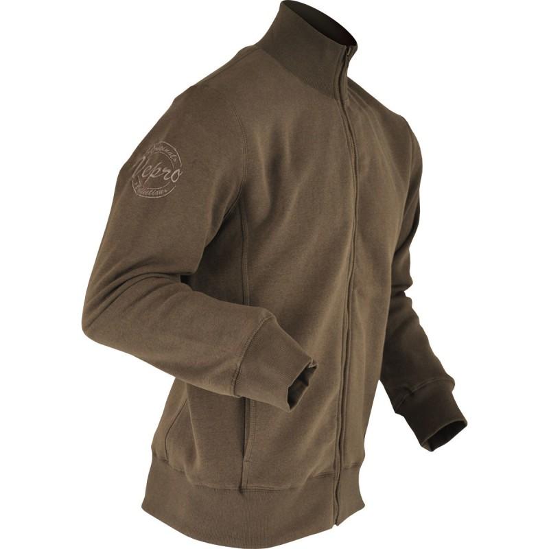STONE Sweat-shirt vintage zippé marron vieilli